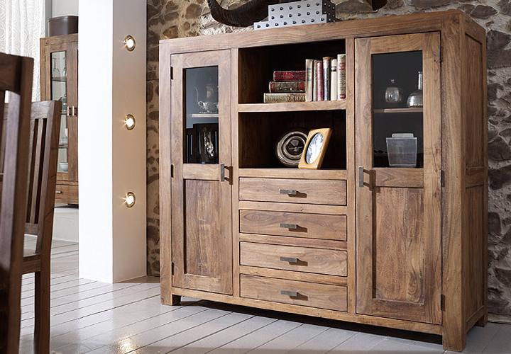 highboard guru 6627 akazie massiv stone von wolf m bel. Black Bedroom Furniture Sets. Home Design Ideas