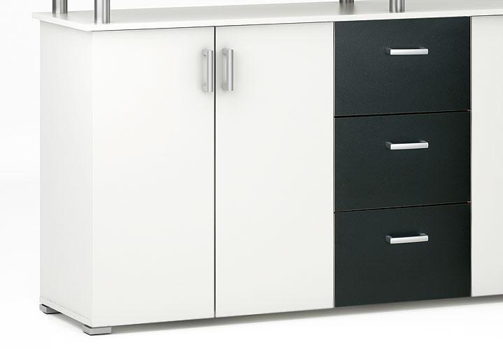Sideboard SWIFT Perle weiß und schwarz Dekor 4türig