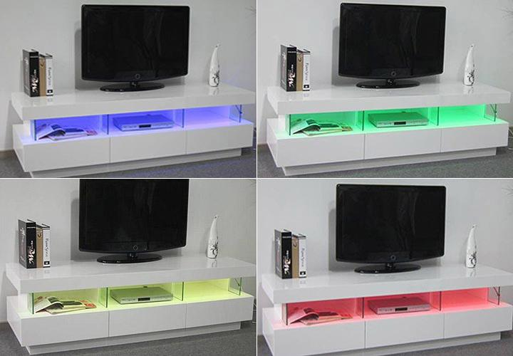 TVLowboard LORA Weiß HochglanzInkl LED -> Lowboard Weiß Hochglanz Poco