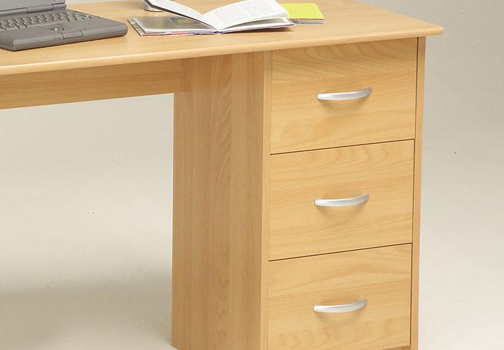 Schreibtisch neni pc tisch buche dekor mit drei schubk sten for Schreibtischplatte buche