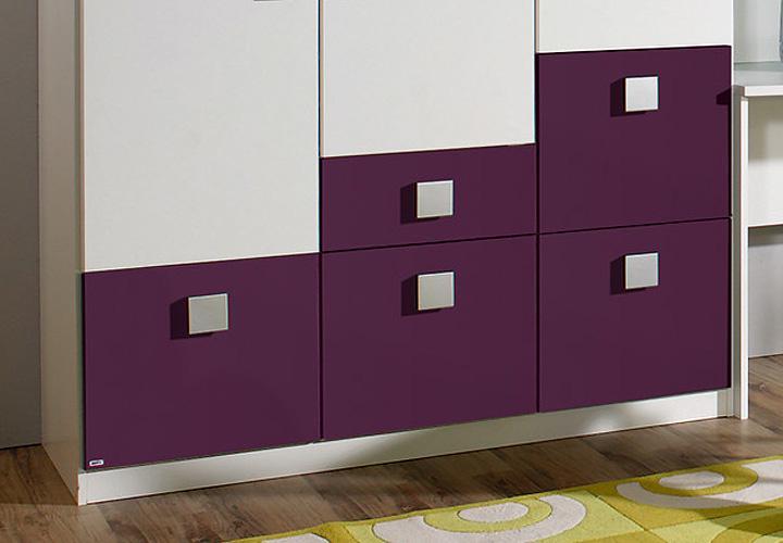 skate kleiderschrank lila 136 cm wei lila. Black Bedroom Furniture Sets. Home Design Ideas