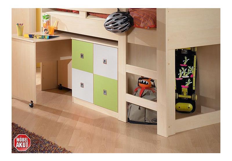 jugendzimmer sunny 4 teilig ahorn apfelgr n wei. Black Bedroom Furniture Sets. Home Design Ideas