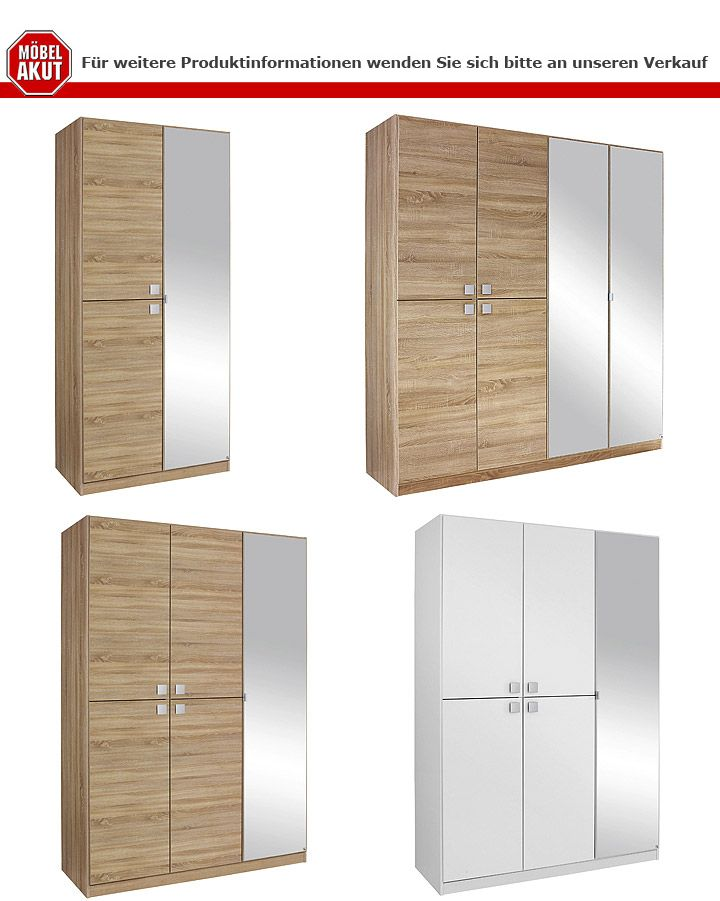 kleiderschrank caria alpinwei mit spiegel b 136 cm. Black Bedroom Furniture Sets. Home Design Ideas