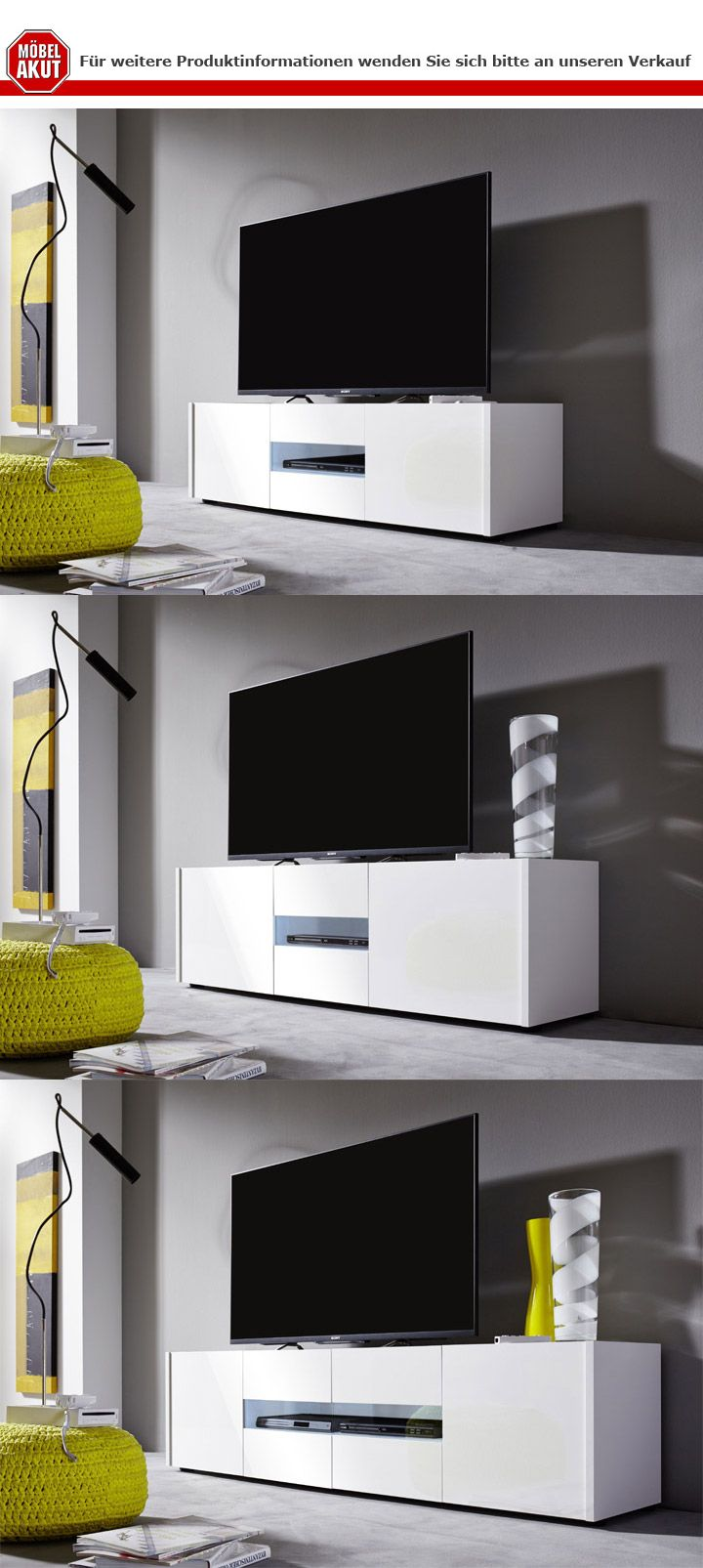 lowboard imola unterschrank tv unterteil wei hochglanz lack 150 cm ebay. Black Bedroom Furniture Sets. Home Design Ideas