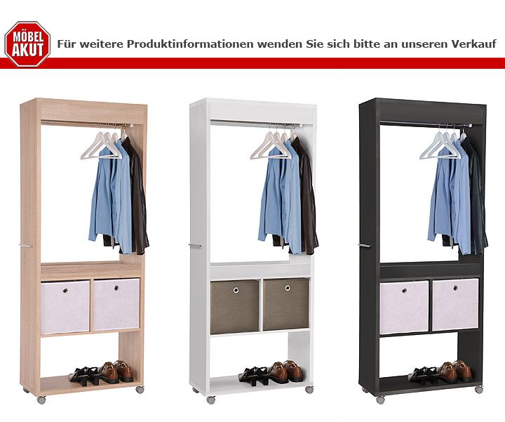 garderobe max anrichte paneel in wei inklusive vier rollen ebay. Black Bedroom Furniture Sets. Home Design Ideas