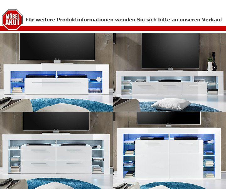 Lowboard SCORE Kommode TV Board in weiß Hochglanz 200 cm