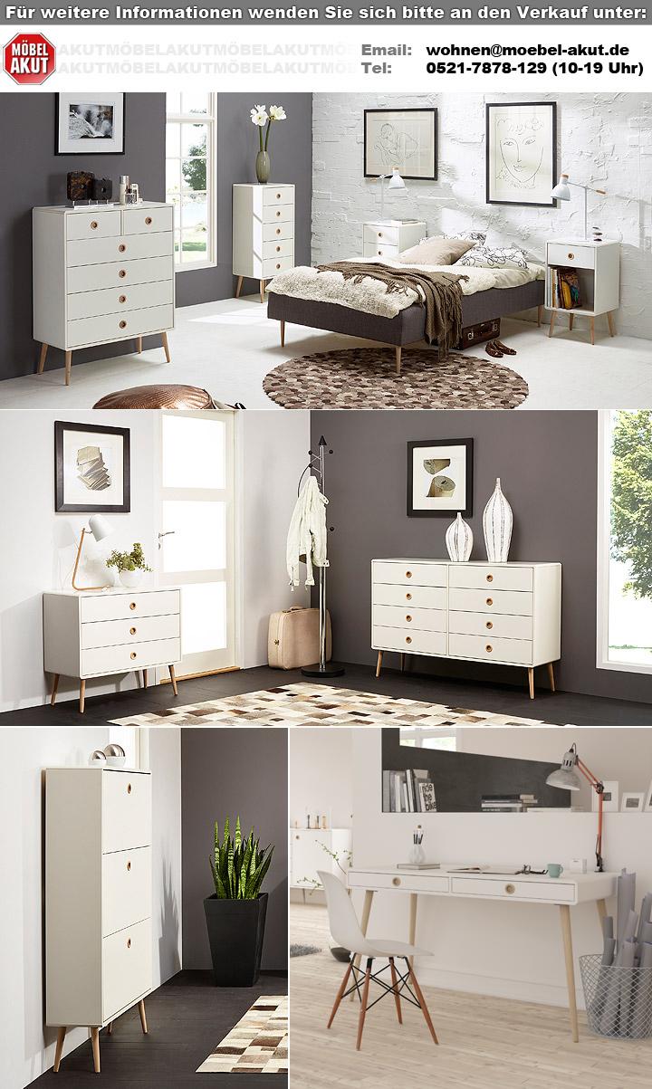 nachtkommode soft line mdf wei und eiche massiv. Black Bedroom Furniture Sets. Home Design Ideas
