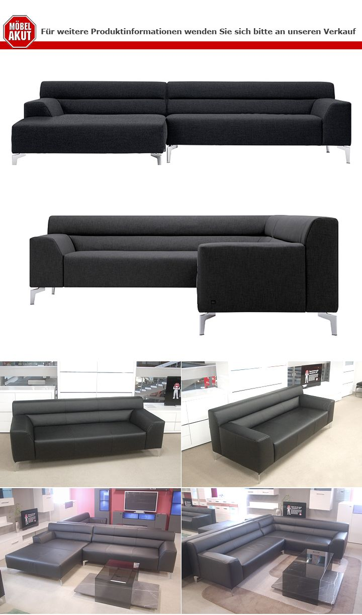 rolf benz sofa neo sob300 ottomane links stoff dunkelgrau. Black Bedroom Furniture Sets. Home Design Ideas