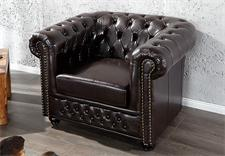 Sessel CHESTERFIELD Lederlook dark coffee dunkel Braun