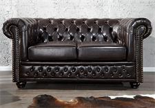 2er Sofa CHESTERFIELD Lederlook dark coffee dunkel braun