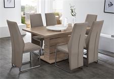 Tischgruppe RONALDO PEPE Tisch Sonoma Eiche Trüffel Stuhl Greige