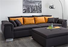 Big Sofa BIG POINT Stoff dunkelgrau Kissen orange