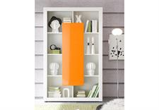 Regal EVITO in weiß und orange Hochglanz 103 cm