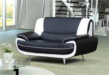 Sofa 2-sitzer PALERMO in schwarz und weiß mit Metallfüßen