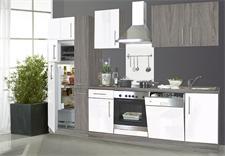 Küchenzeile JULIA Sonoma Eiche weiß Hochglanz mit E-Geräten