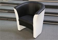 Cocktailsessel PELE Sessel in weiß Sitz in schwarz