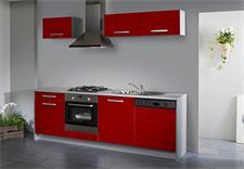 SIMPLY Single-Küche Rot Hochglanz/Grau - 245 cm