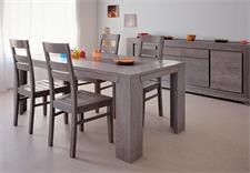 Tischgruppe Titan in Eiche grau teilmassiv