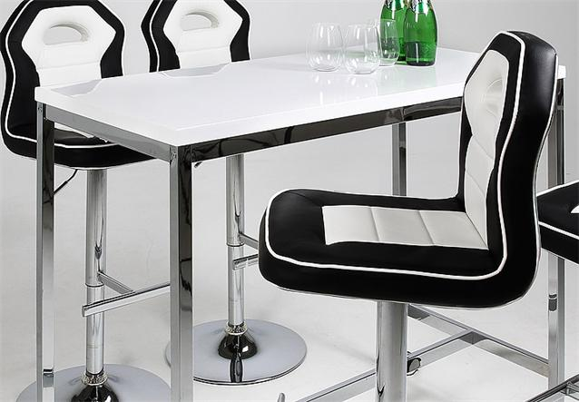 bar set roy penguin bartisch barhocker wei hochglanz schwarz wei chrom ebay. Black Bedroom Furniture Sets. Home Design Ideas