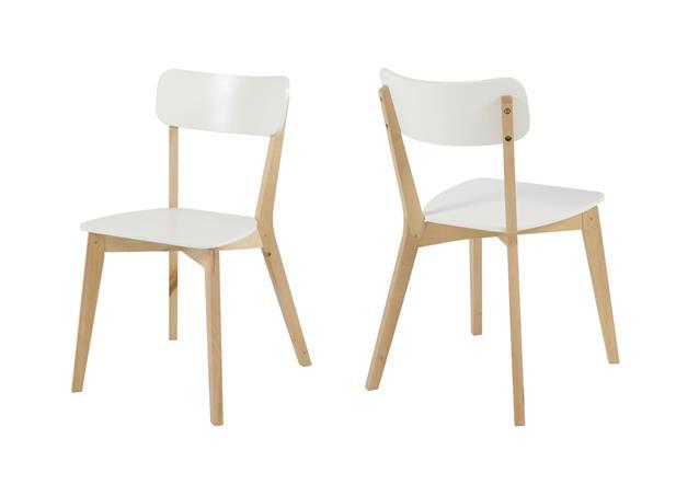 stuhl raven 2er set k chenstuhl esszimmerstuhl in birke und wei bauhaus stil ebay. Black Bedroom Furniture Sets. Home Design Ideas