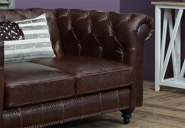 sofa 2 sitzer charlietown polstersofa antik bycast leder braun chesterfield stil. Black Bedroom Furniture Sets. Home Design Ideas