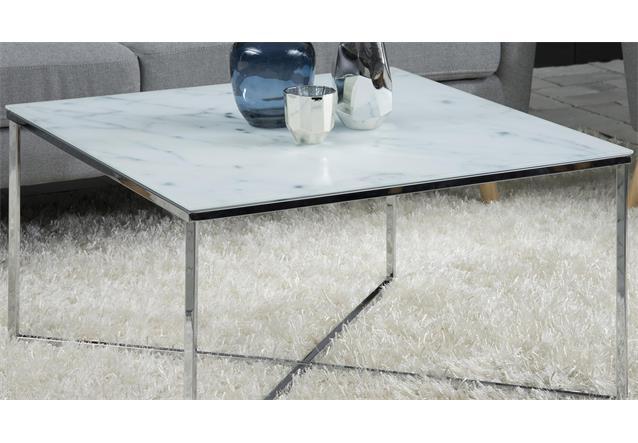 Couchtisch alisma in glas wei und marmoroptik gestell for Tischplatte marmoroptik