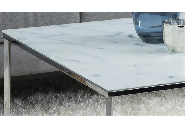 couchtisch alisma in glas wei und marmoroptik gestell chrom beistelltisch tisch. Black Bedroom Furniture Sets. Home Design Ideas