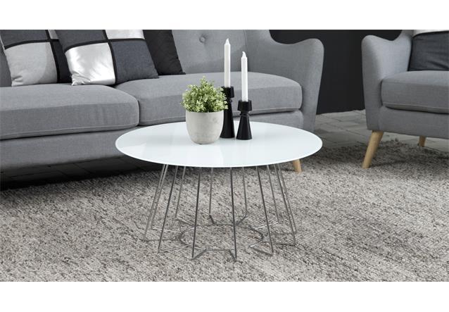 couchtisch casia beistelltisch glas wei und metall chrom. Black Bedroom Furniture Sets. Home Design Ideas
