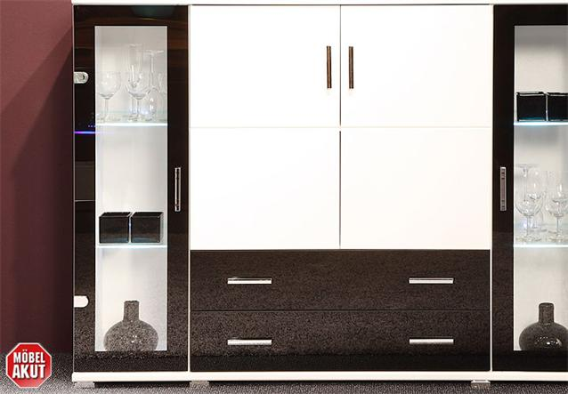 highboard free in wei schwarz inkl led neu ebay. Black Bedroom Furniture Sets. Home Design Ideas