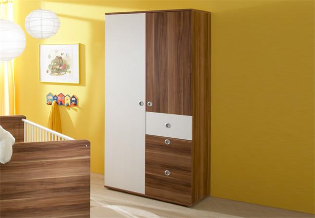 kleiderschrank wiki schrank 2 trg babyzimmer in wei und walnuss ebay. Black Bedroom Furniture Sets. Home Design Ideas