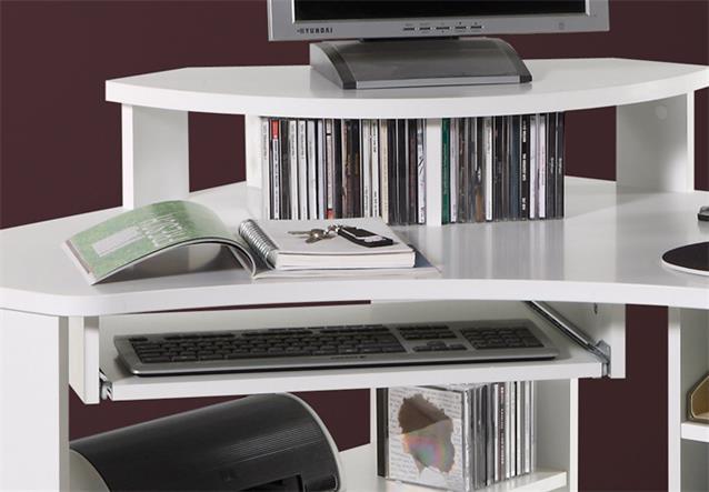 eckschreibtisch tanga in wei computer pc schreibtisch b ro jugendzimmer ebay. Black Bedroom Furniture Sets. Home Design Ideas