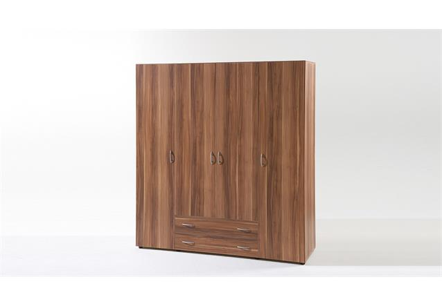 kleiderschrank base 4 schrank mit dreht ren in walnuss 160cm breit ebay. Black Bedroom Furniture Sets. Home Design Ideas