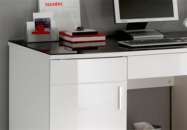Schreibtisch b ro luxus in hochglanz wei mit glasplatte for Schreibtisch hochglanz schwarz