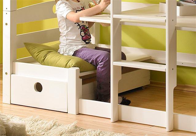 etagenbett olli hochbett kinderbett bett kiefer massiv wei wachs ebay. Black Bedroom Furniture Sets. Home Design Ideas