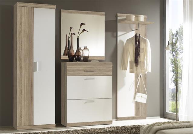 garderobenschrank imperial 2 in eiche sonoma und wei 60 cm breit flur schrank. Black Bedroom Furniture Sets. Home Design Ideas