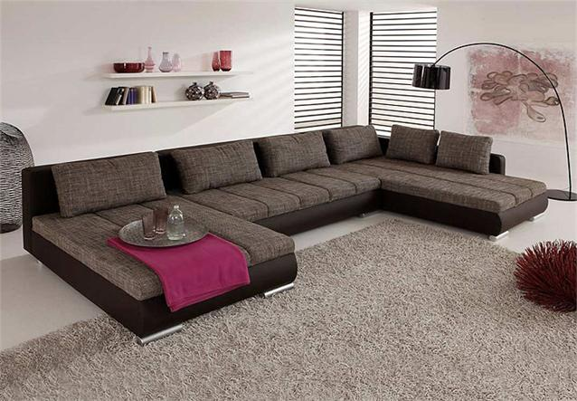 Wohnlandschaft honor sofa ecksofa in braun und mokka inkl for Wohnlandschaft b ware