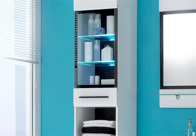 bad hochschrank fitness badezimmer schrank in wei mit glanzfront und led ebay. Black Bedroom Furniture Sets. Home Design Ideas