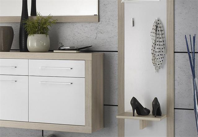 garderobe crema 4 teiliges set in sonoma eiche s gerau und wei ebay. Black Bedroom Furniture Sets. Home Design Ideas