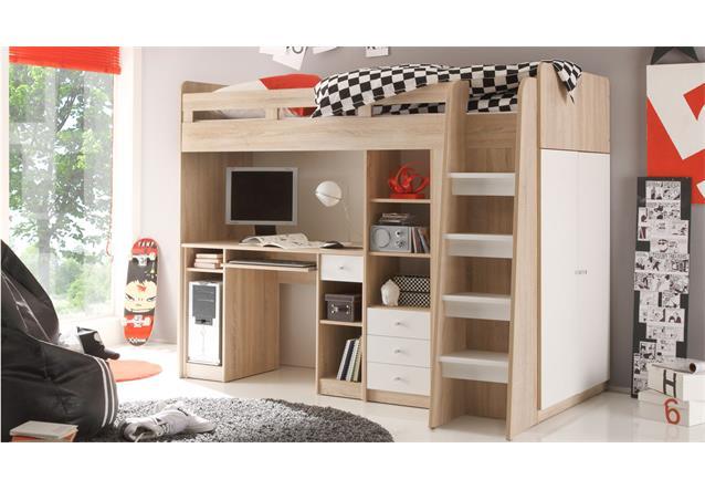 hochbett unit etagenbett kinderbett sonoma eiche s gerau. Black Bedroom Furniture Sets. Home Design Ideas