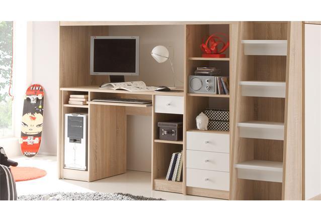 hochbett unit jugendzimmer mit schreibtisch regal sonoma eiche s gerau ebay. Black Bedroom Furniture Sets. Home Design Ideas