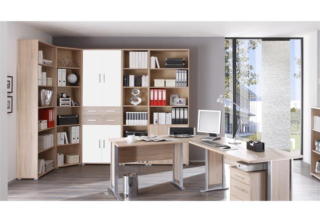 aktenschrank office line arbeitszimmer b rom bel sonoma eiche dekor 4 t rig wei ebay. Black Bedroom Furniture Sets. Home Design Ideas