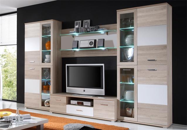 wohnwand anne anbauwand sonoma eiche wei inkl led beleuchtung neu ebay. Black Bedroom Furniture Sets. Home Design Ideas