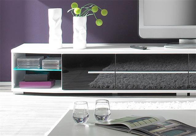 wohnwand black star anbauwand schwarz wei inkl led ebay. Black Bedroom Furniture Sets. Home Design Ideas