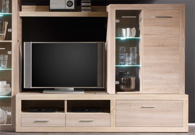 wohnwand can can 5 wohnzimmer anbauwand eiche sonoma mit led beleuchtung ebay. Black Bedroom Furniture Sets. Home Design Ideas