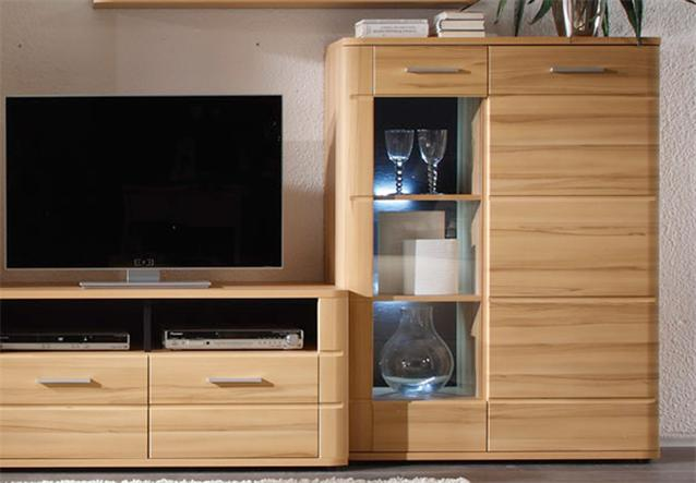 wohnwand touch 3 anbauwand in buche miltenberg gerundet inkl led ebay. Black Bedroom Furniture Sets. Home Design Ideas