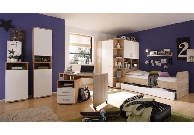 schreibtisch corner pc tisch computertisch schwenkbar sonoma eiche wei ebay. Black Bedroom Furniture Sets. Home Design Ideas