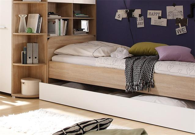 jugendzimmer 4 teilig corner eckschrank jugendbett schreibtisch sonoma eiche ebay. Black Bedroom Furniture Sets. Home Design Ideas