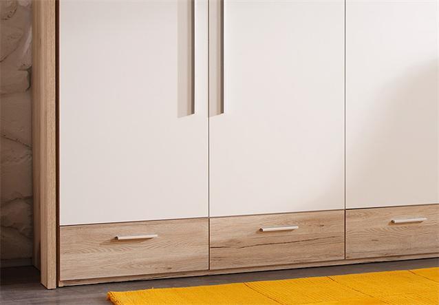 kleiderschrank merkur schrank san remo eiche wei rahmen beleuchtung ebay. Black Bedroom Furniture Sets. Home Design Ideas