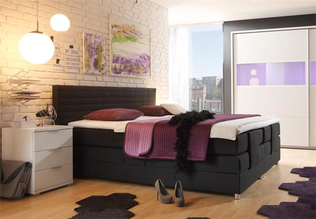 boxspring bett alabama mit motorrahmen inkl matratze in schwarz 180x200 cm ebay. Black Bedroom Furniture Sets. Home Design Ideas