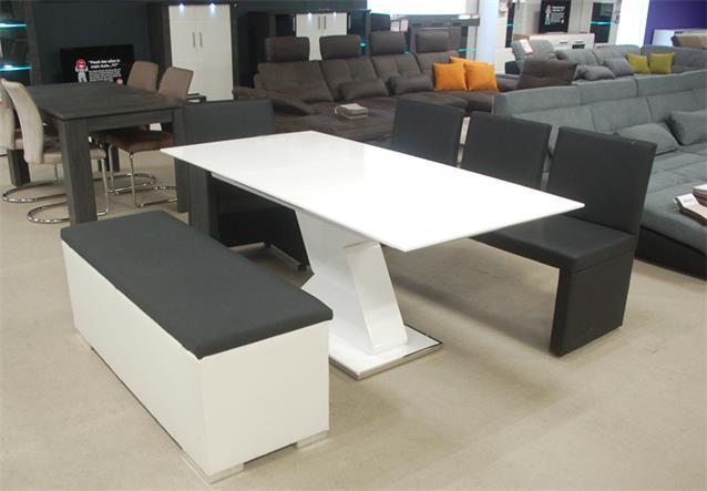 sitzbank chest truhe schlafzimmer wei und anthrazit deckel gepolstert ebay. Black Bedroom Furniture Sets. Home Design Ideas